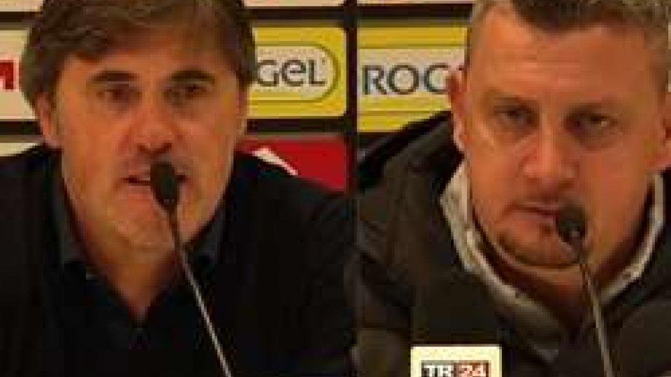 Alessandro Calori e Andrea CamploneCesena-Trapani 3-1: i commenti degli allenatori