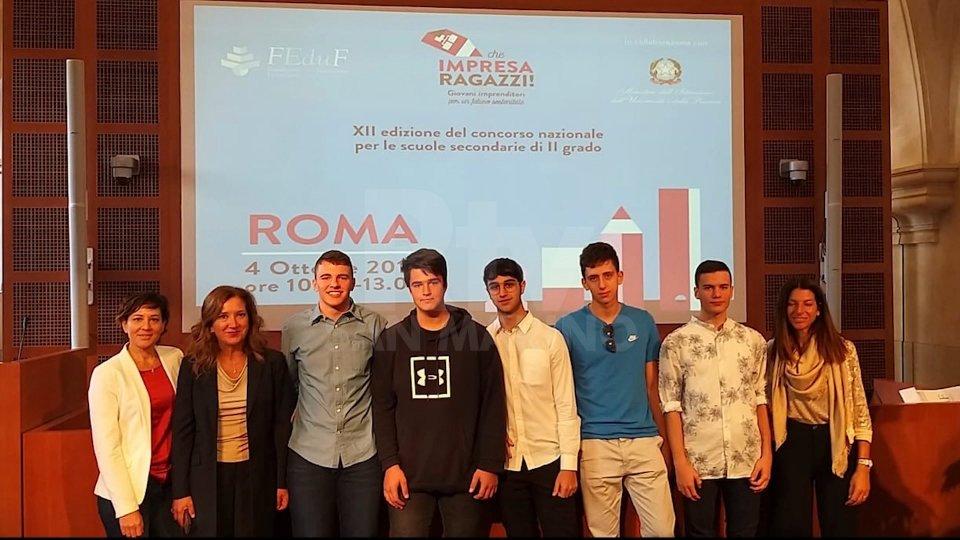 Studenti sammarinesi premiati a Roma: hanno presentato un progetto imprenditoriale partendo dalla loro realtà