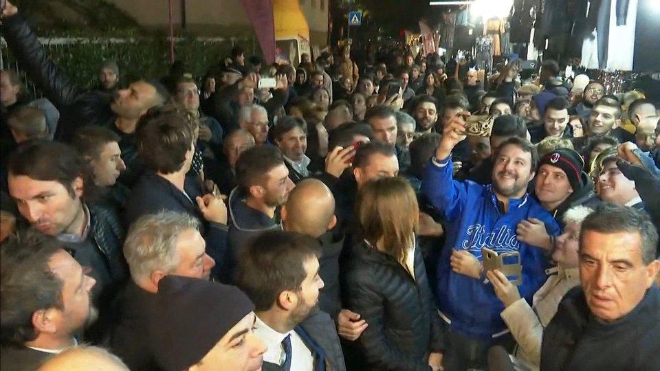 Matteo Salvini a Santarcangelo. Foto @Rai Bologna