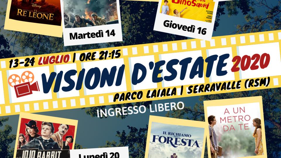 Si ricomincia con visioni d'estate dal 13 luglio cinema all'aperto al parco Laiala Serravalle