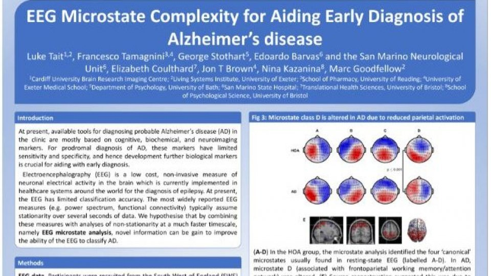 Alzheimer, uno studio sammarinese presentato in due meeting internazionali