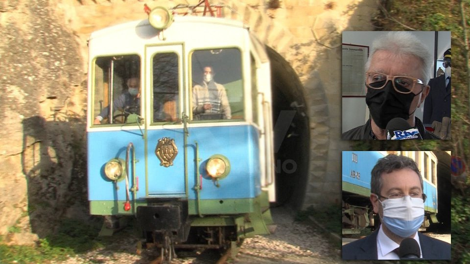 """Nel servizio le interviste con Giancarlo """"Yuma"""" Terenzi (Associazione Treno Bianco Azzurro) e Marco Gatti (Segretario alle Finanze con delega ai Trasporti)"""