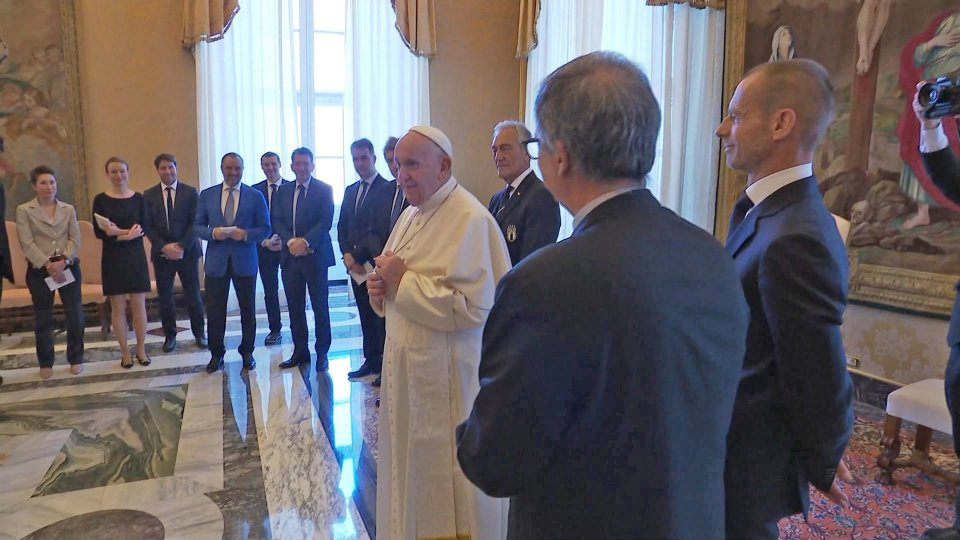 Gravina e Ceferin da Papa Francesco