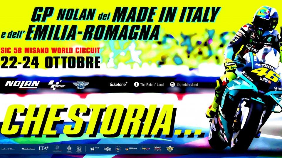 """Gp Misano: """"Che storia ..."""" il poster dedicato a Valentino Rossi"""