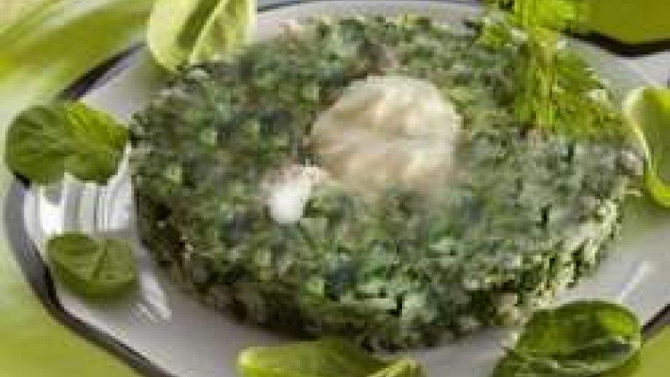 Tortino di riso con crema di soia e spinacino
